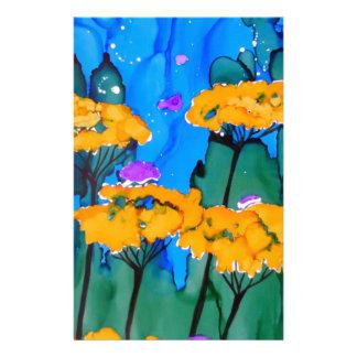 Yellow Yarrow Flower Art Painting Stationery Paper