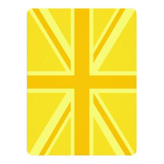 Yellow Yellow Union Jack British Flag Background 6.5x8.75 Paper Invitation Card