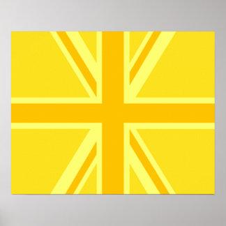Yellow Yellow Union Jack British Flag Background Poster