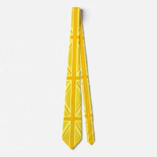 Yellow Yellow Union Jack British Flag Background Tie