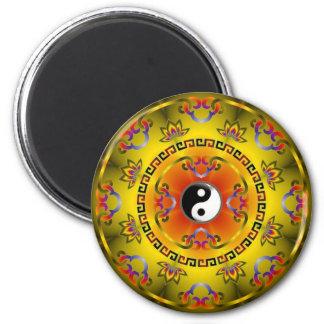 Yellow Yin Yang 2 Inch Round Magnet