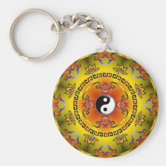 Yellow Yin Yang Keychain