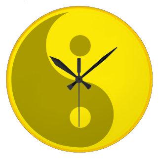Yellow Yin Yang Large Clock