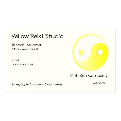 Yellow Yin Yang symbol Double-Sided Standard Business Cards (Pack Of 100)