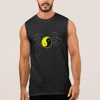 Yellow Yin Yang with a Tribal Dragon Design 2 Sleeveless Shirt