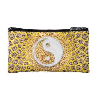 Yellow Ying Yang Mandala Makeup Bag