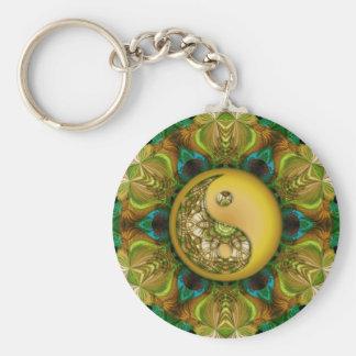 Yellow YinYang Mandala Keychain
