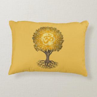 Yellow Yoga Om Tree of Life Decorative Pillow
