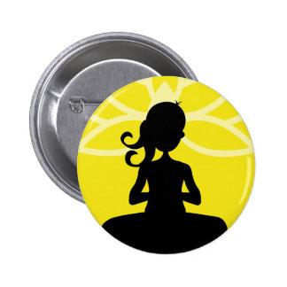 Yellow Yoga Silhouette Button