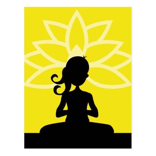 Yellow Yoga Silhouette Postcard