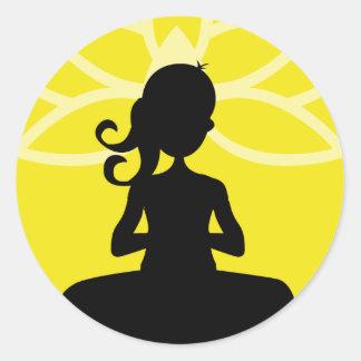 Yellow Yoga Silhouette Silhouette Round Sticker