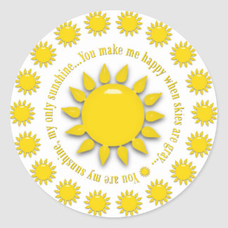 Yellow You Are My Sunshine Round Stickers