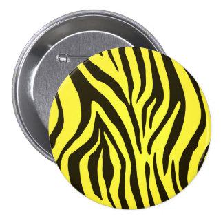Yellow zebra animal print pattern button