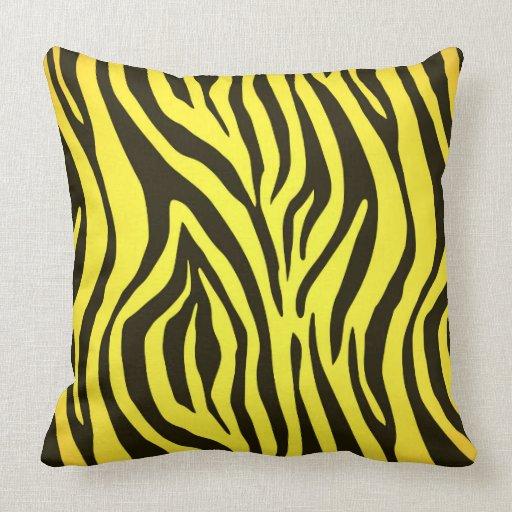 Yellow zebra animal print pattern throw pillows Zazzle