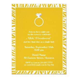 Yellow Zebra Bachelorette Party Flat Invitation