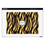 Yellow Zebra Center Monogram Laptop Skin