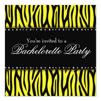 Yellow Zebra Diamonds Bachelorette Party Card