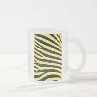 Yellow zebra frosted glass coffee mug