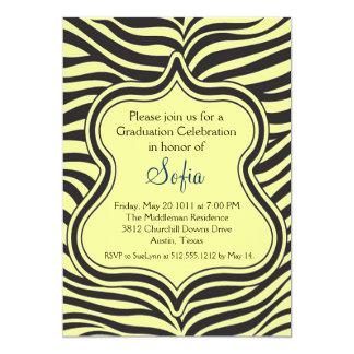 Yellow Zebra Graduation Invitation Custom Color