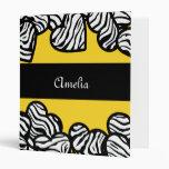 Yellow Zebra hearts Binder