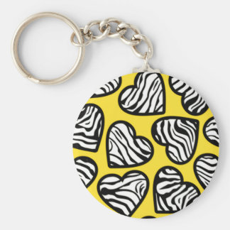 Yellow zebra hearts Keychain