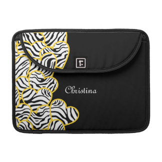Yellow zebra hearts Rickshaw Flap Sleeve Sleeve For MacBooks