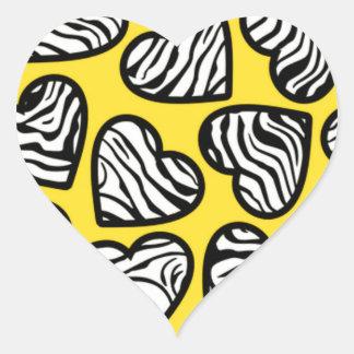 Yellow zebra hearts sticker