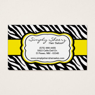 Yellow Zebra Print Hair Salon Business Card