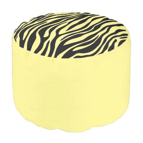 Yellow Zebra Print Ottoman