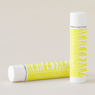 Yellow Zebra Print with monogram Lip Balm