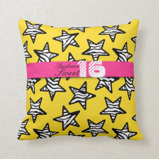 Yellow zebra stars Sweet 16 Birthday Pillow