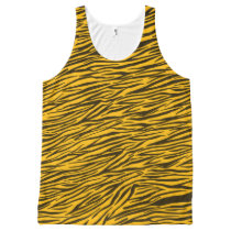 Yellow Zebra Stripes Animal Print  Unisex Tank