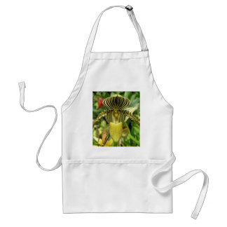 Yellow Zebra Stripes Orchid Adult Apron