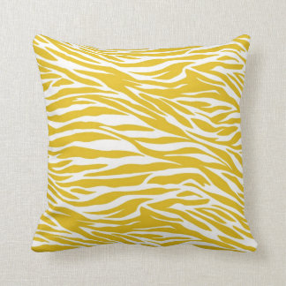 Yellow Zebra Stripes throw Pillow