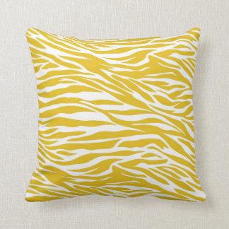 Yellow Zebra Stripes throw Pillow