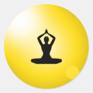 Yellow Zen Meditation Classic Round Sticker