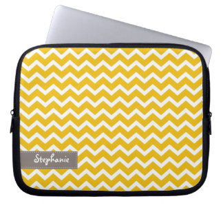 Yellow Zig Zag Chevrons Pattern Laptop Sleeve