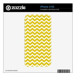 Yellow Zig Zag Chevrons Pattern Skin For iPhone 4S