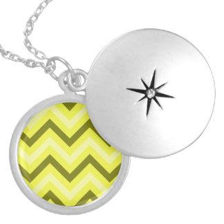 Yellow Zig Zag Round Locket Necklace
