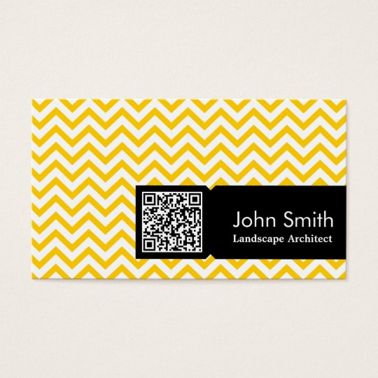 Yellow Zigzag Landscape Architect Business Card