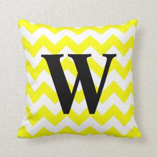 Yellow Zigzag Monogram Throw Pillows