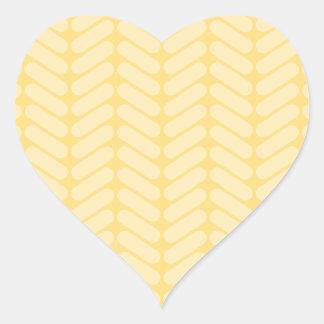 Yellow Zigzag Pattern inspired by Knitting. Heart Sticker