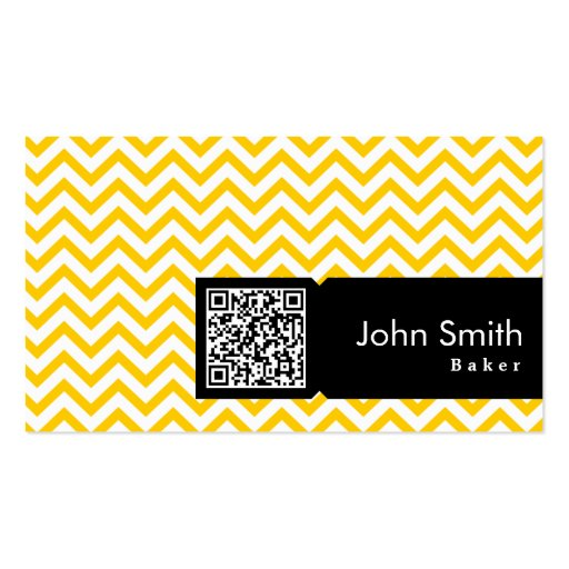 Yellow Zigzag QR Code Baker Business Card (front side)