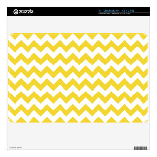 """Yellow Zigzag Stripes Chevron Pattern Decal For 11"""" MacBook Air"""