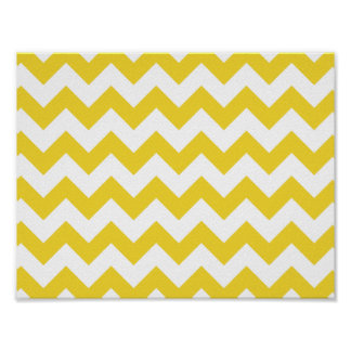 Yellow Zigzag Stripes Chevron Pattern Poster
