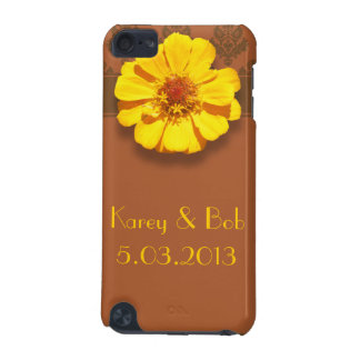 Yellow Zinnia w/ Brown Damask Pattern iPod Touch 5G Cover