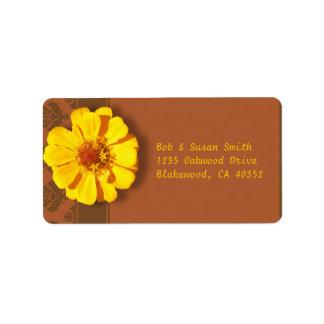 Yellow Zinnia w/ Brown Damask Pattern Address Label