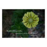 Yellow Zinnia with quote by Eleanor Roosevelt Posters