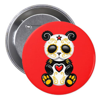 Yellow Zombie Sugar Panda on Red 3 Inch Round Button