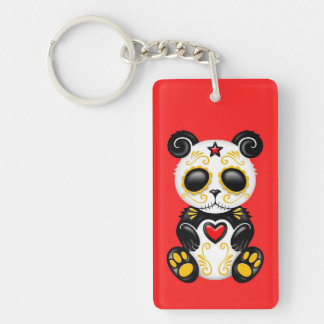 Yellow Zombie Sugar Panda on Red Double-Sided Rectangular Acrylic Keychain